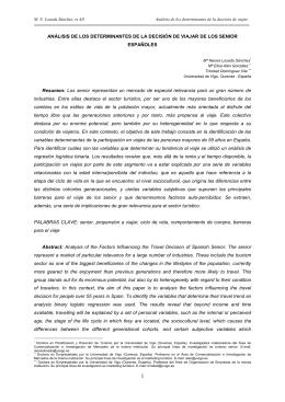 ANÁLISIS DE LOS DETERMINANTES DE LA DECISIÓN DE VIAJAR