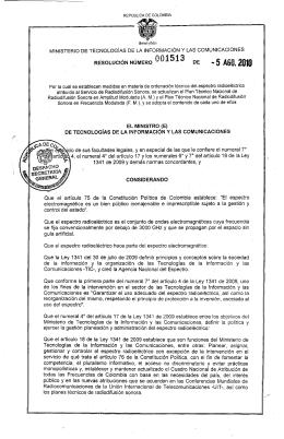 Resolución 1513 de 2010 - Ministerio de Tecnologías de la