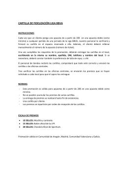 CARTILLA DE FIDELIZACIÓN LIGA BBVA