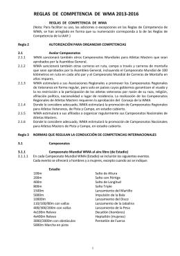 reglas de competencia de wma 2013-2016
