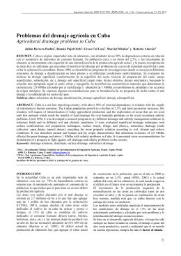 Problemas del drenaje agrícola en Cuba / Agricultural drainage