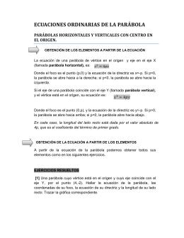 ECUACIONES ORDINARIAS DE LA PARÁBOLA