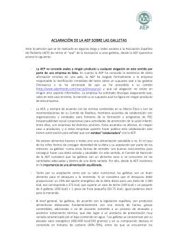 ACLARACIÓN DE LA AEP SOBRE LAS GALLETAS