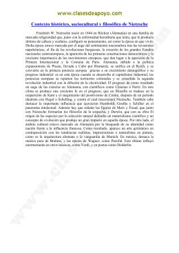 Contexto histórico, sociocultural y filosófico de Nietzsche