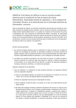 ORDEN de 10 de febrero de 2009 por la que se convocan pruebas