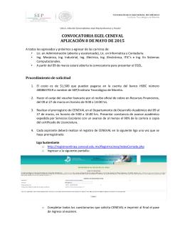 convocatoria egel ceneval aplicación 8 de mayo de 2015
