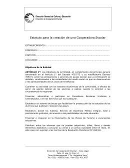 Estatuto de Cooperadora Escolar. - Servicios ABC