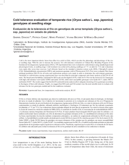 Cold tolerance evaluation of temperate rice (Oryza sativa L. ssp