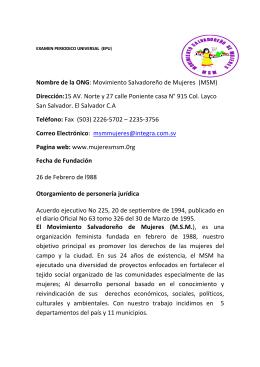 Nombre de la ONG: Movimiento Salvadoreño de Mujeres (MSM