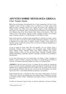 APUNTES SOBRE MITOLOGÍA GRIEGA César Tenorio