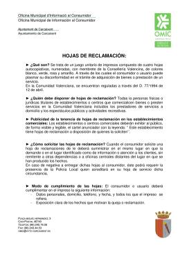 HOJAS DE RECLAMACIÓN: - Ajuntament de Carcaixent
