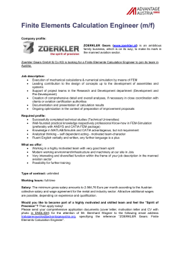 Finite Elements Calculation Engineer (m/f)
