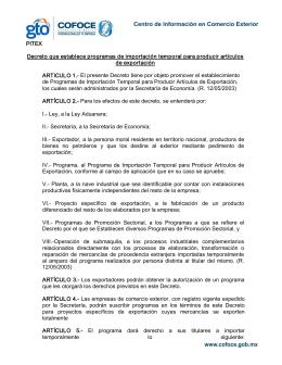 PITEX Decreto que establece programas de importación