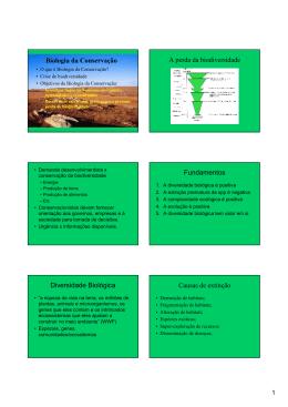 Biologia da Conservação A perda da biodiversidade Fundamentos