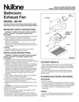 Bathroom Exhaust Fan MODEL: 8814R