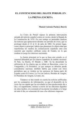 EL CONTENCIOSO DEL ISLOTE PEREJIL EN LA PRENSA ESCRITA