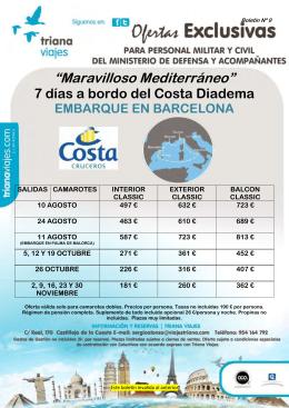 """""""Maravilloso Mediterráneo"""" 7 días a bordo del Costa Diadema"""
