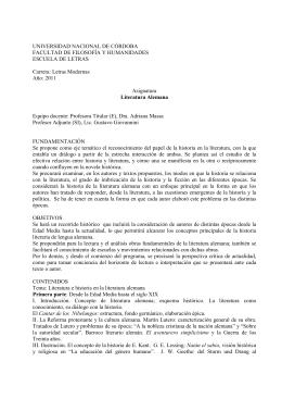 Letras Modernas Año: 2011 Asig - Universidad Nacional de Córdoba