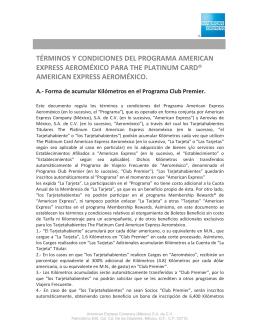 términos y condiciones del programa american express aeroméxico