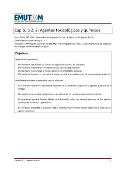 Capítulo 2. 2: Agentes toxicológicos y químicos
