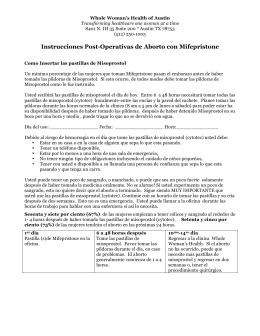 Instrucciones Post-Operativas de Aborto con Mifepristone