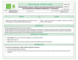 procedimiento para el trámite de homologaciones de matrícula de