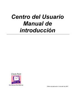Centro del Usuario Manual de introducción