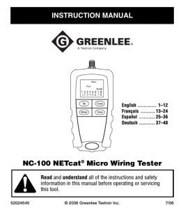 NC-100 NETcat® Micro Wiring Tester INSTRUCTION