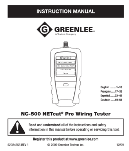 INSTRUCTION MANUAL NC-500 NETcat® Pro Wiring Tester