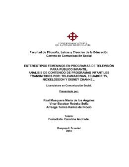 Facultad de Filosofía, Letras y Ciencias de la Educación Carrera de