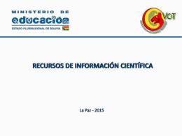 Diapositiva 1 - Viceministerio de Ciencia y Tecnología
