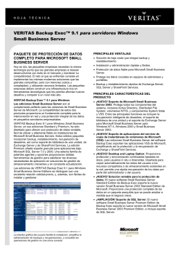 VERITAS Backup Exec™ 9.1 para servidores Windows Small
