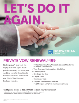 PRIVATE VOW RENEWAL$499