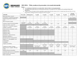 2015-2016 Útiles escolares de preescolar a la escuela intermedia