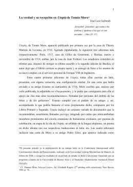 La verdad y su recepción en Utopía de Tomás Moro*