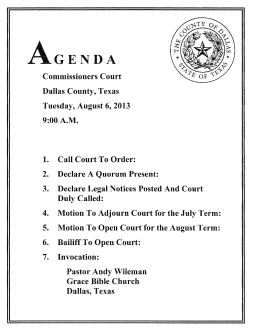 Commissioners Court Dallas County, Texas Tuesday, August 6