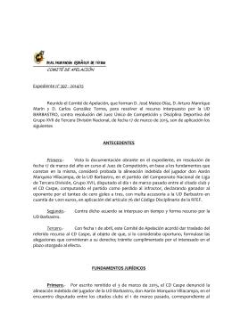 Resoluciones del Comité Apelación