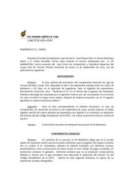 Expediente no 51 - 2014/15. Campeonato Nacional de Liga de