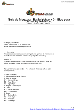 Guia de Megaman Battle Network 3 - Blue para