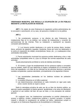ORDENANZA DE KIOSCOS MODIFICADA EN NOVIEMBRE 2013