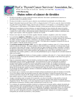 ThyCa: Thyroid Cancer Survivors` Association, Inc.SM Datos sobre
