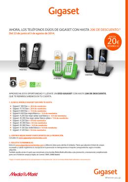 ahora, los teléfonos dúos de gigaset con hasta 20€ de descuento.