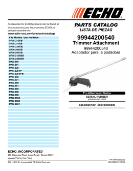 PARTS CATALOG Trimmer Attachment