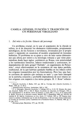 camila: génesis, función y tradición de un personaje