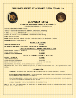 campeonato abierto de taekwondo puebla codamk 2014 convocatoria