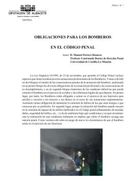 obligaciones para los bomberos en el código penal