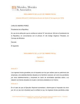 REGLAMENTO DE LA LEY DE TIMBRE FISCAL