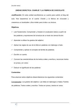 UNIDAD DIDÁCTICA: CHARLIE Y LA FÁBRICA DE CHOCOLATE