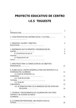 PROYECTO EDUCATIVO DE CENTRO I.E.S TEGUESTE