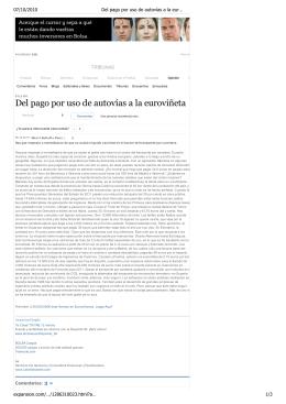 Del pago por uso de autovías a la euroviñeta, Opinión, expansion.co